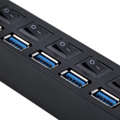 USB HUB Hi-Speed 480Mbps 7 Ports USB 3.0 Hub Support 1TB HDD (Black)