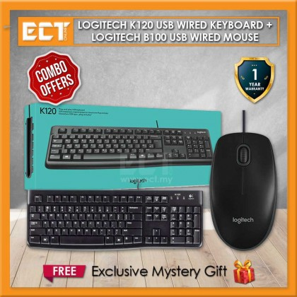 Logitech K120+B100 Classic Wired USB Keyboard and USB Mouse Combo