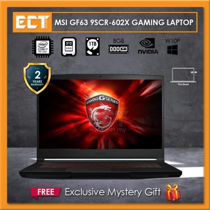 """MSI GF63 9SCR-602X Gaming Laptop (i7-9750H 4.50GHz,512GB SSD,4GB,GTX 1650 4GB,15.6"""" FHD,W10P)"""