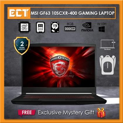 """MSI GF63 10SCXR-400 Gaming Laptop (i7-10750H 5.00GHz,512GB SSD,8GB,GTX 1650 4GB,15.6"""" FHD,W10)"""
