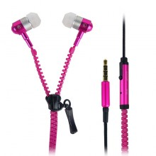 Zip Zipper Canal Type In-Ear Stereo Earbud Earphone with Mic - Pink