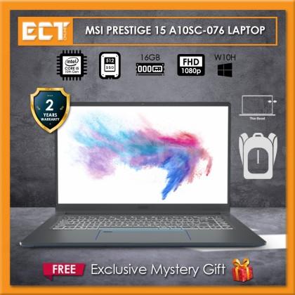 """MSI Prestige 15 A10SC-076 Content Creation Laptop (i5-10210U 4.20GHz,512GB SSD,16GB,GTX1650 4GB,15.6"""" FHD,W10)"""