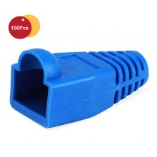 100 Pcs RJ45 Network Cable Lead Connector Cover Cap Boot Cat 5/5e/6 Plug Head - Blue