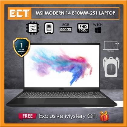 """MSI Modern 14 B10MW-251 Laptop (i5-10210U 4.20GHz,512GB SSD,8GB,UMA,14.0"""" FHD,W10)"""