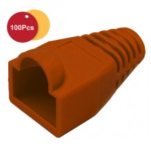 100 Pcs RJ45 Network Cable Lead Connector Cover Cap Boot Cat 5/5e/6 Plug Head - Brown
