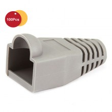 100 Pcs RJ45 Network Cable Lead Connector Cover Cap Boot Cat 5/5e/6 Plug Head - Light Grey