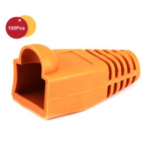 100 Pcs RJ45 Network Cable Lead Connector Cover Cap Boot Cat 5/5e/6 Plug Head - Orange