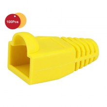 100 Pcs RJ45 Network Cable Lead Connector Cover Cap Boot Cat 5/5e/6 Plug Head - Yellow