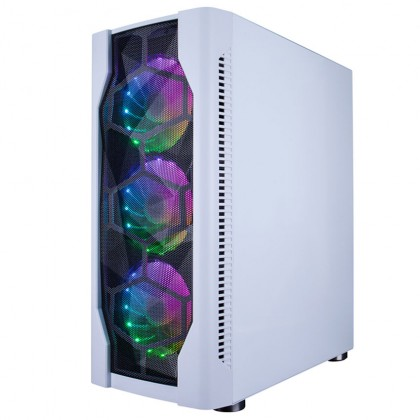 1STPLAYER DK D4 ATX Tempered Glass Gaming Desktop PC Casing Chassis - Black/White