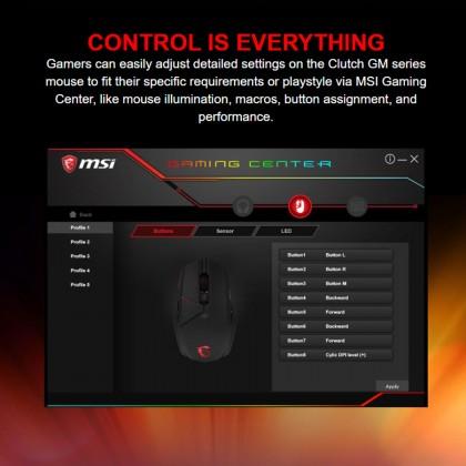MSI Clutch GM60 RGB 10,800 DPI E-Sports Standard Wired Gaming Mouse
