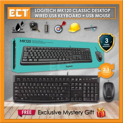 Logitech MK120 Classic Wired USB Keyboard and USB Mouse Combo