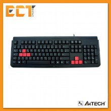 A4Tech G300 Gaming Wired USB Keyboard with 4 interchangeable colored gaming keys (Black)
