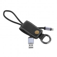 Remax RC-034i Leather Keychain Western Design Lightning Cable for Apple Iphone (Black)