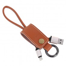 Remax RC-034i Leather Keychain Western Design Lightning Cable for Apple Iphone (Brown)
