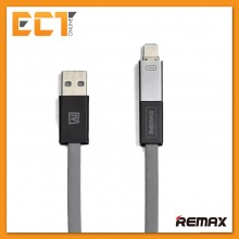 Remax RC-026T Shadow Magnet Absorption 2 in 1 Charging Cable Support Apple & Android Device (Grey)