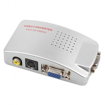 High Resolution Video VGA Conversion 15 Pin VGA to Video & S-video Converter - Silver