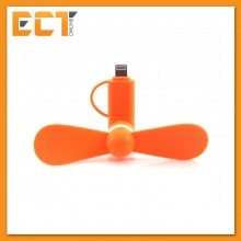 2 in 1 Mini Fan for Apple and Android (Lighting and Micro USB Connection) - Orange