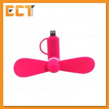 2 in 1 Mini Fan for Apple and Android (Lighting and Micro USB Connection) - Pink