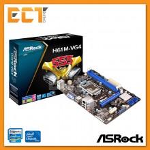 Asrock H61M-VG4 LGA1155 Socket 6 PCI-E Slot Micro ATX Form Factor Motherboard