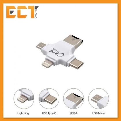 iDragon R006 4-in-1 OTG Card Reader -W/O SD Card (USB,Type-C,Lightning,Micro USB) - Silver