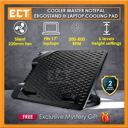 "Cooler Master NotePal Ergostand III Silent 230mm Fan 17"" Laptop Cooling Pad with 4 Ports USB Hub"