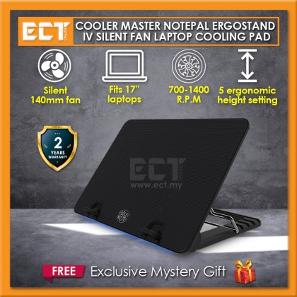 """Cooler Master NotePal Ergostand IV Silent 140mm Fan 17"""" Laptop Cooling Pad with Blue LED Strip and 4 USB Ports (R9-NBS-E42K-GP)"""