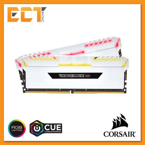 Corsair Vengeance RGB 16GB (8GBx2) DDR4 DRAM 3200MHz C16 Gaming Desktop RAM  - White