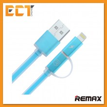 Remax 2 IN 1 Aurora Full Speed Fast Charging Lightning Micro USB Cable with Indicator Light (Blue)