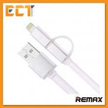 Remax 2 IN 1 Aurora Full Speed Fast Charging Lightning Micro USB Cable with Indicator Light (Silver)