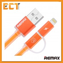 Remax 2 IN 1 Aurora Full Speed Fast Charging Lightning Micro USB Cable with Indicator Light (Orange)