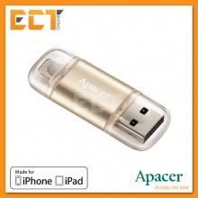 Apacer AH190 128GB USB 3.1/Lightning OTG Dual Flash Drive for iPhone/iPad - Gold