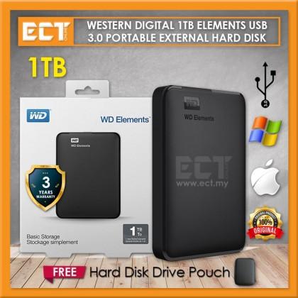 Western Digital 1TB Elements USB 3.0 Portable External Hard Disk Drive - Black