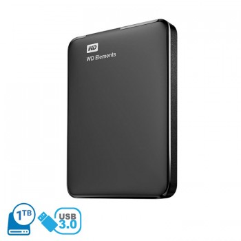 Western Digital 1TB Elements USB 3.0 Portable External Hard Disk Drive - Black