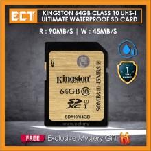 Kingston 64GB Class 10 UHS-I Ultimate Waterproof SD Card (SDA10/64GBCP)