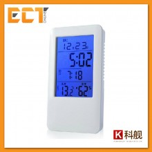 Clock MC501 Digital Alarm Clock Temperature Humidity Thermometer with Blue LCD Display (White)