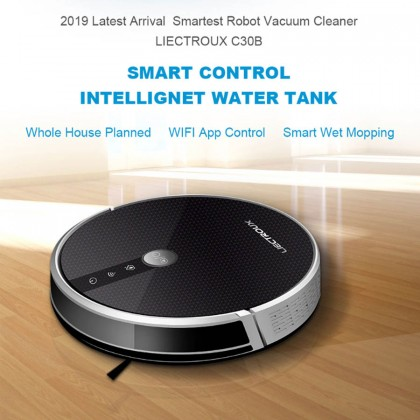 Liectroux C30B The Most Powerful Robot Vacuum Cleaner with Electric Water Tank, 2D Map, WiFi APP Control, 3000Pa Suction and Brushless Motor