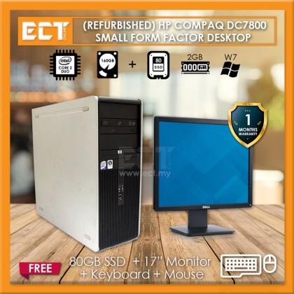 (Refurbished) HP Compaq DC7800 SFF Desktop (E7500 2.93GHz,80GB SSD+160GB,2GB,W7)