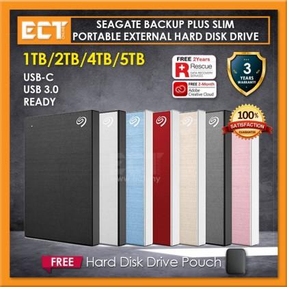 Seagate 1TB/2TB/4TB/5TB Backup Plus Slim Portable External Hard Disk Drive HDD (USB 3.0 & USB C)