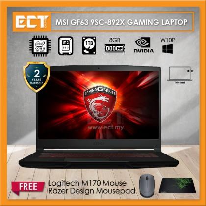 "MSI GF63 9SC-892X Gaming Laptop (i5-9300H 4.10GHz,512GB SSD,4GB,GTX 1650 4GB,15.6"" FHD,W10P)"
