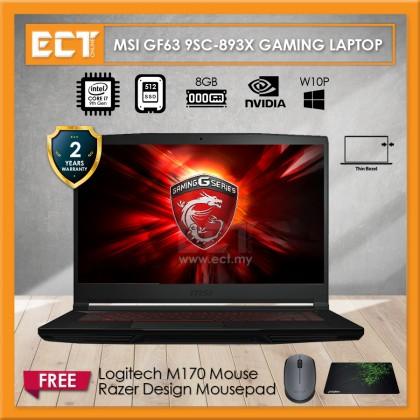 "MSI GF63 9SC-893X Gaming Laptop (i7-9750H 4.50GHz,512GB SSD,4GB,GTX 1650 4GB,15.6"" FHD,W10P)"