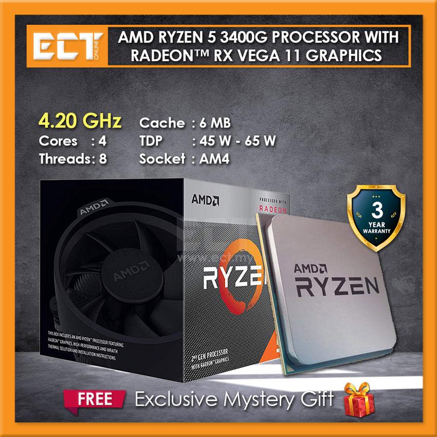Amd Ryzen 5 3400g Desktop Processor With Radeon Rx Vega 11 Graphics 4 20ghz 4 Cores 8 Threads Am4 Socket
